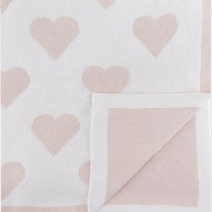 THE LITTLE WHITE COMPANY Reversible Heart-pattern Baby Blanket