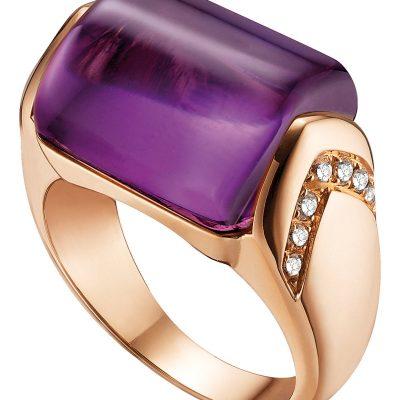 BVLGARI MVSA 18kt Pink-gold, Amethyst And Diamond Ring