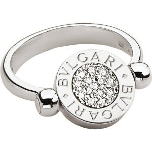 BVLGARI BVLGARI-BVLGARI 18kt White-gold And Pavé-diamond Flip Ring