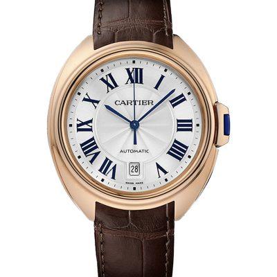 CARTIER Clé De Cartier 40mm 18ct Rose-gold And Leather Watch