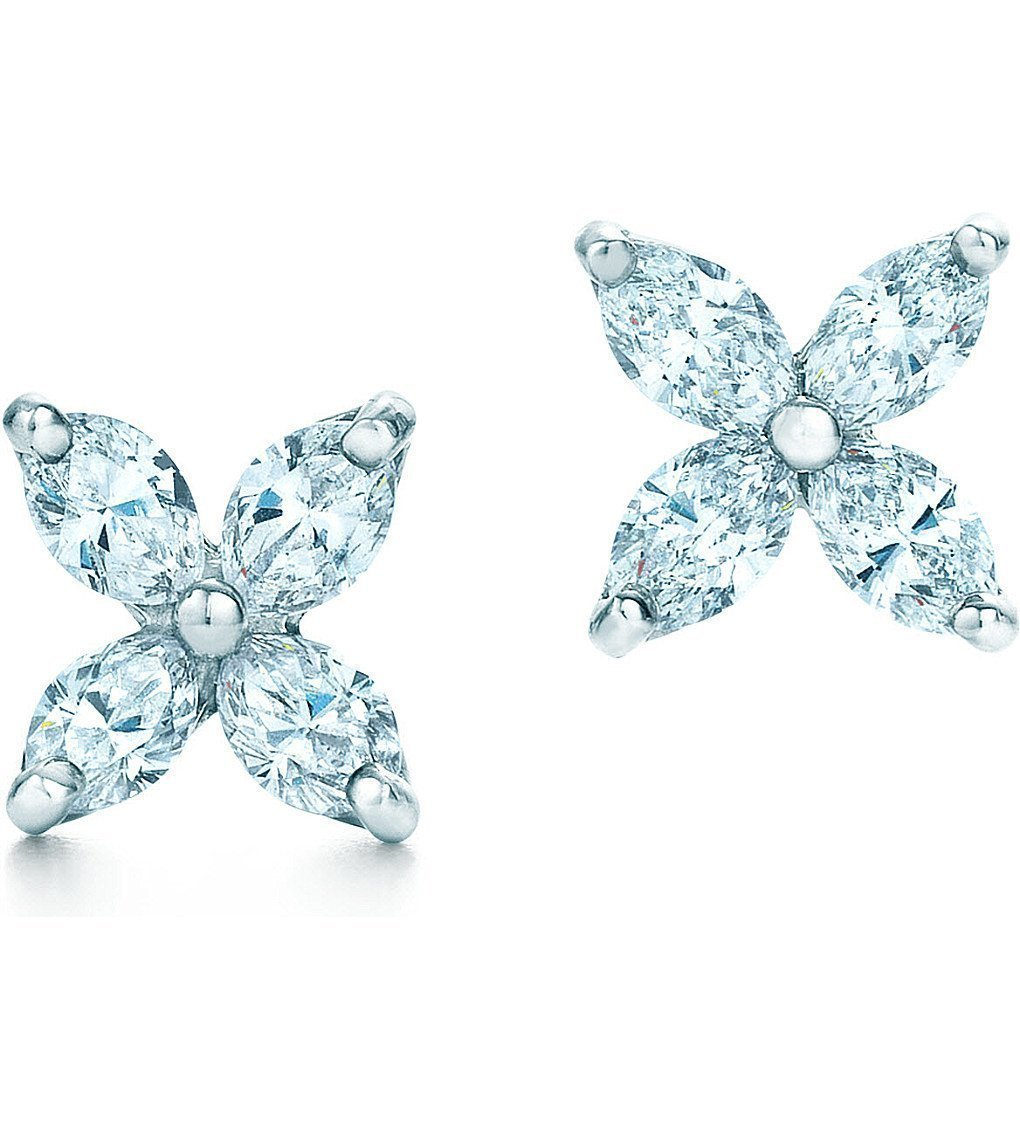 TIFFANY & CO Tiffany Victoria™ Earrings In Platinum With Diamonds, Small