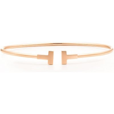 TIFFANY & CO Tiffany T Narrow Wire Bracelet In 18k Rose Gold