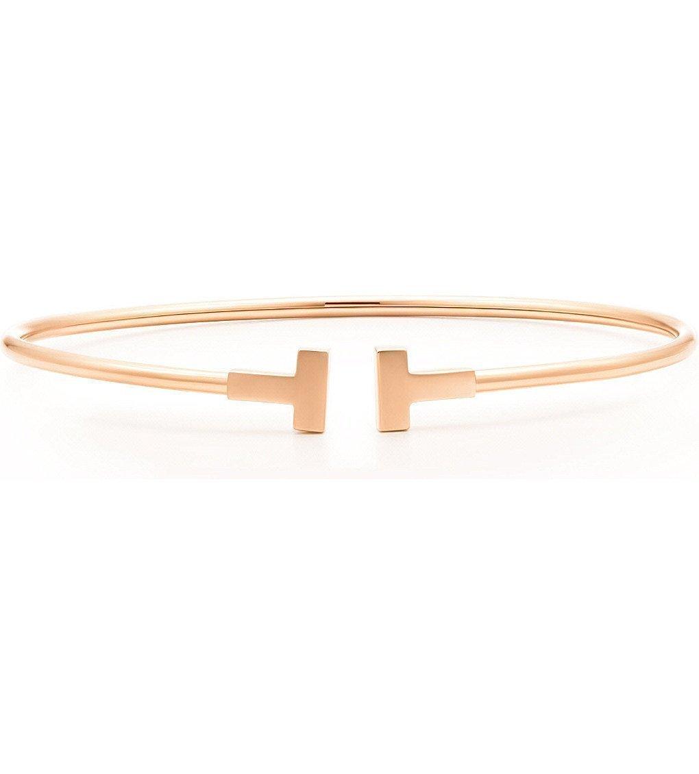 TIFFANY & CO Tiffany T Narrow Wire Bracelet In 18k Rose Gold