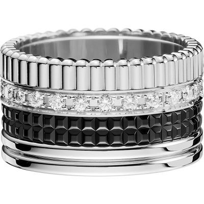 BOUCHERON Quatre 18ct White-gold With Pavé Round Diamonds And PVD Ring
