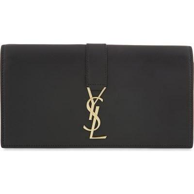 SAINT LAURENT Logo Flap Leather Wallet