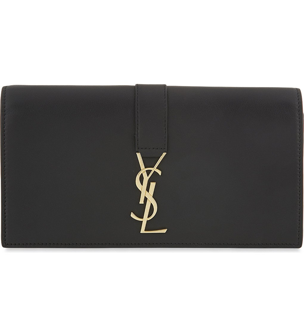 SAINT LAURENT Logo Flap Leather Wallet