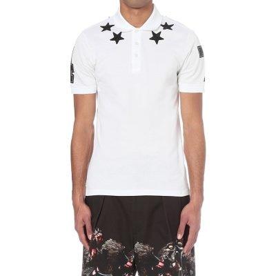 GIVENCHY Star Embroidered Cotton-piqué Polo Shirt
