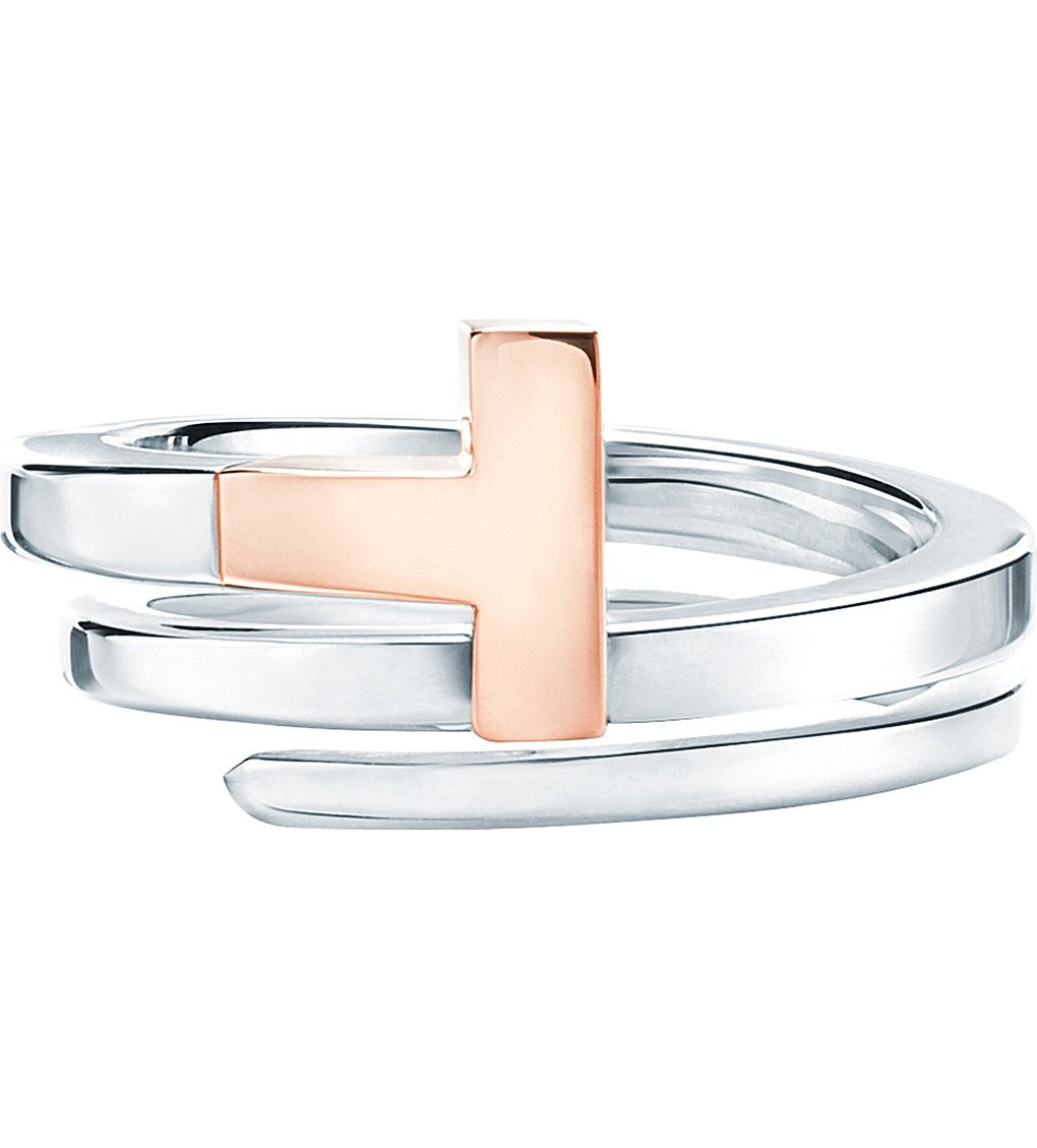 TIFFANY & CO Tiffany T Wrap Ring In 18k Rose-gold And Sterling Silver