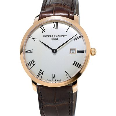 FREDERIQUE CONSTANT FC-306MR4S4 Slimline Gold-plated Stainless Steel And Leather Watch