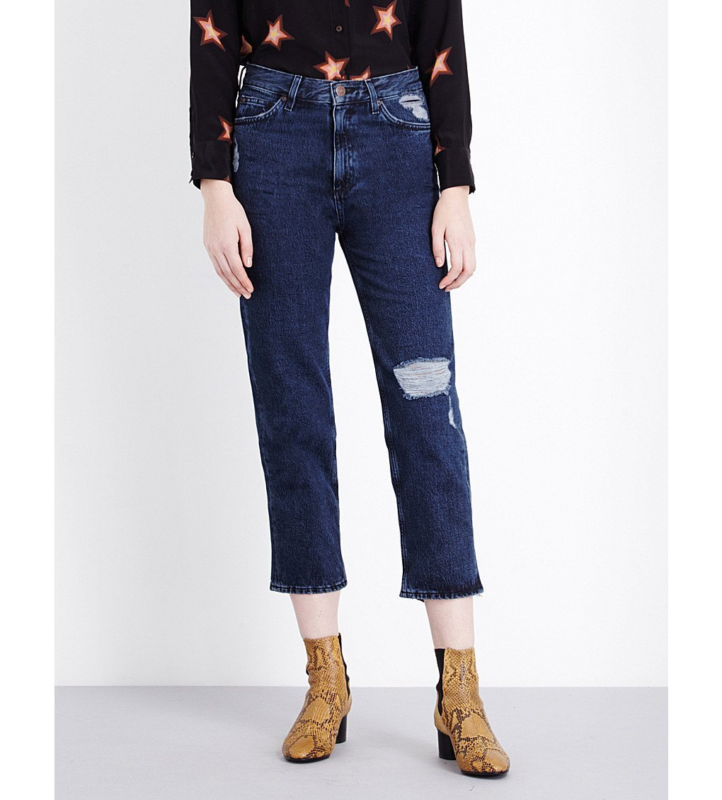 MIH JEANS Coler Flare Star Embroidered Cropped Jeans