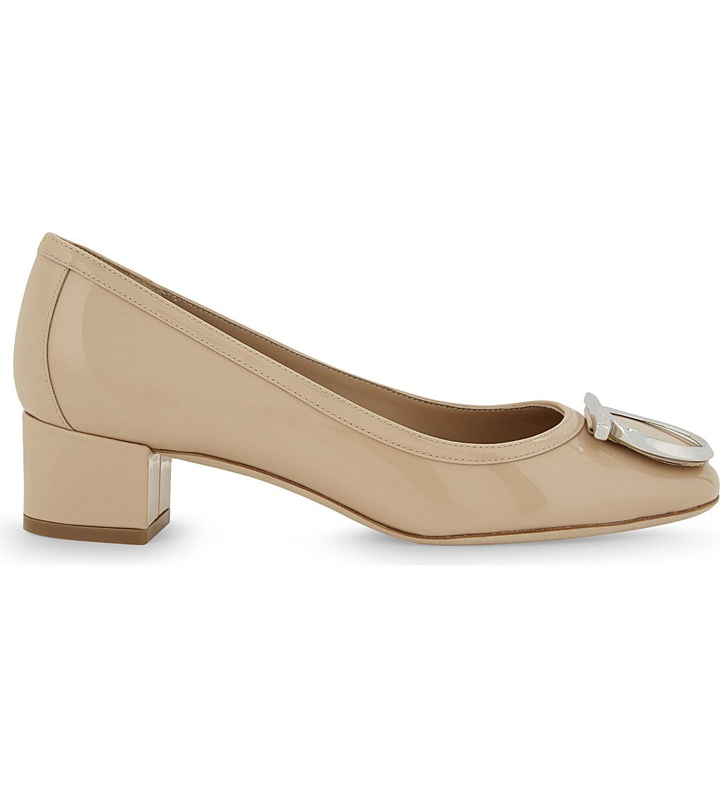 SALVATORE FERRAGAMO Ena Patent-leather Courts