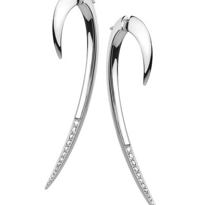 SHAUN LEANE Silver And Diamond Hook Earring, Size 2