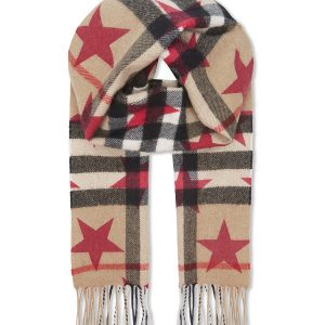BURBERRY Star And Check Print Cashmere Scarf