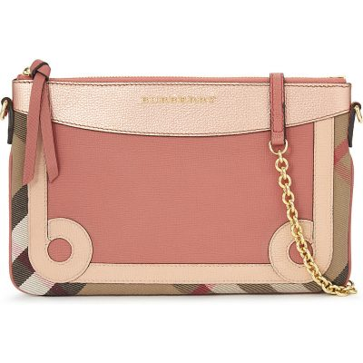 BURBERRY Peyton Leather & House Check Clutch
