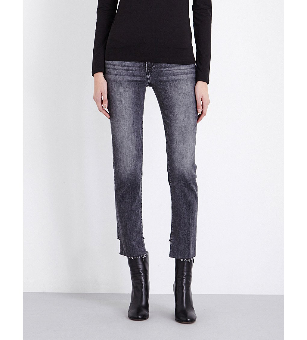 FRAME Le High Stepped-hem Straight High-rise Jeans
