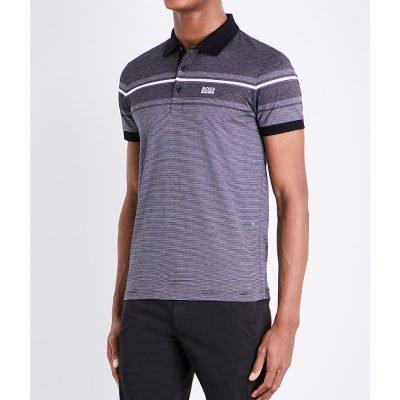 BOSS GREEN Slim-fit Striped Cotton-jersey Polo Shirt