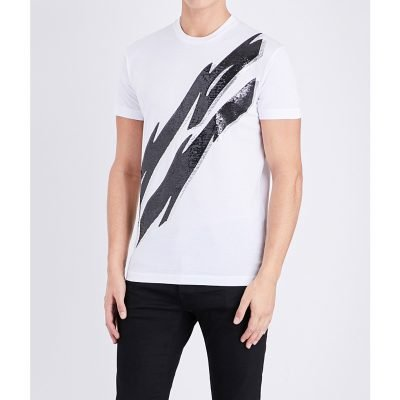 DSQUARED2 Sequinned-lightning Cotton-jersey T-shirt