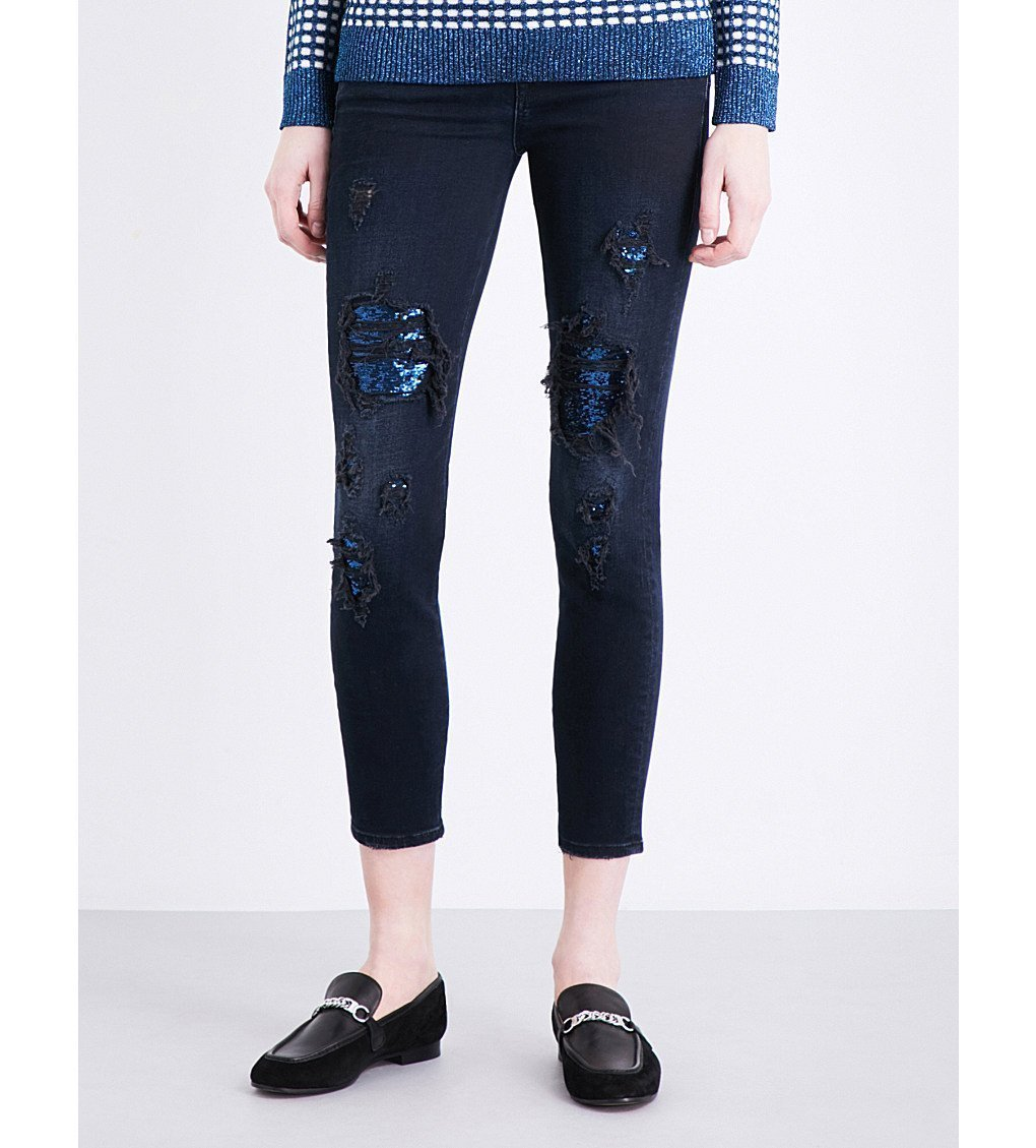 7 FOR ALL MANKIND Sequin-patch Skinny Stretch-denim Jeans