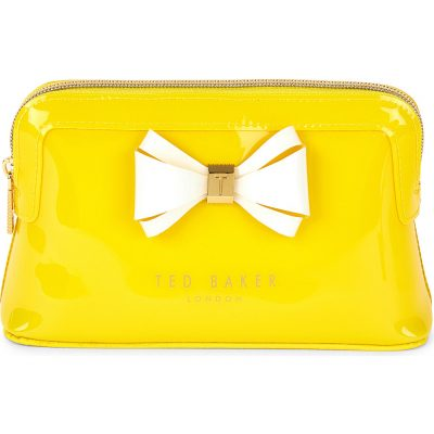 TED BAKER Curved Bow Patent Leather Make-up Bag