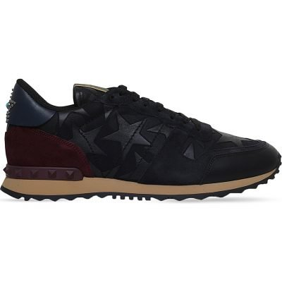 VALENTINO Rockrunner Star-embellished Suede Trainers