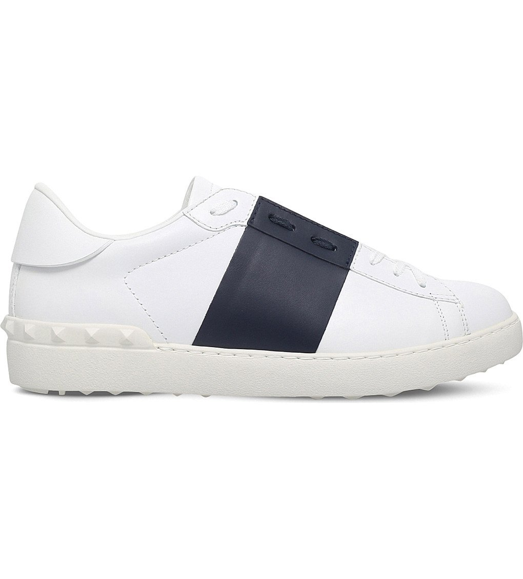 VALENTINO Open Contrast-stripe Leather Trainers