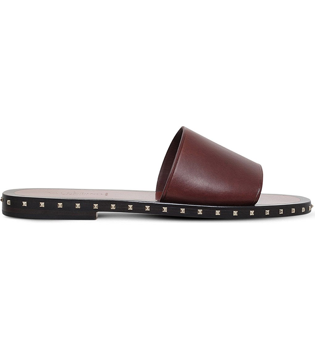VALENTINO Rockstud Leather Slide Sandals