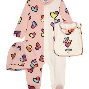 MOSCHINO Hearts Cotton Three-piece Baby Set 1-6 Months