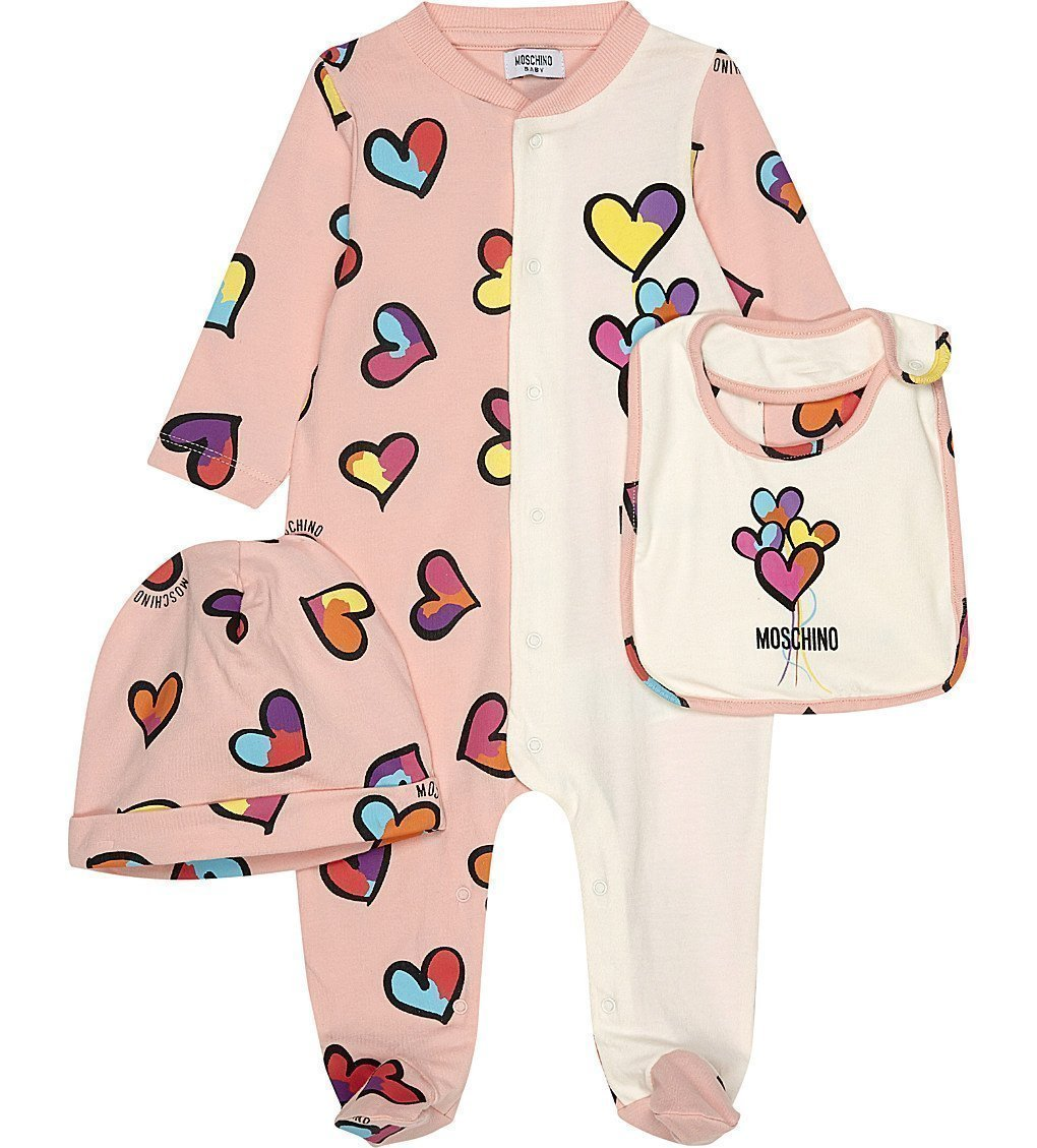 MOSCHINO Hearts Cotton Three-piece Baby Set 1-6 Months