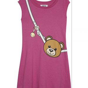 MOSCHINO Teddy Bag Cotton Dress 4-14 Years