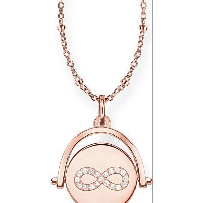 THOMAS SABO Infinity Coin Spinning Sterling Silver And Diamond Necklace