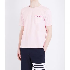 THOM BROWNE Stripe-detail Cotton-jersey T-shirt