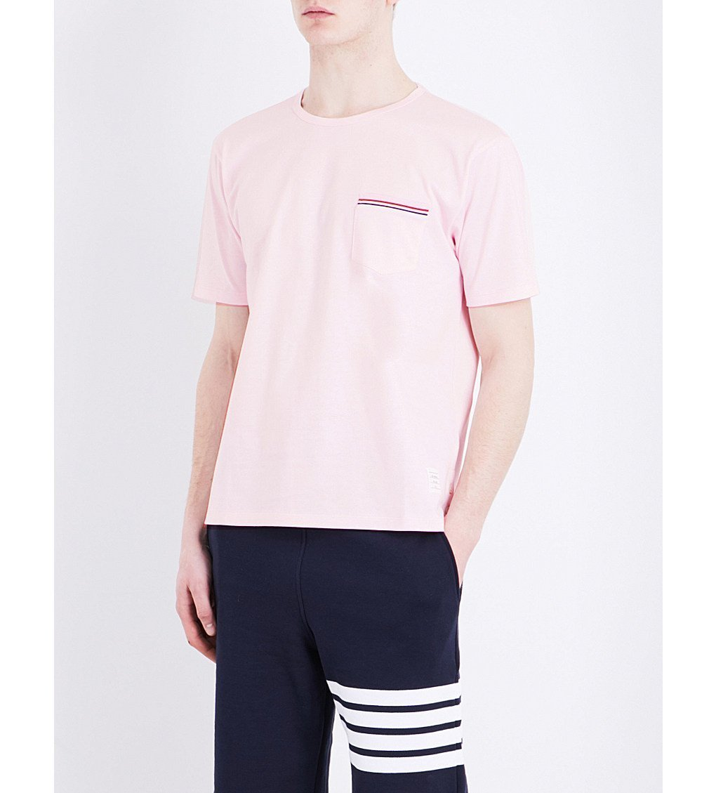 THOM BROWNE Stripe-detail Cotton-jersey T-shirt