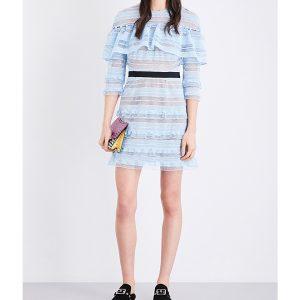 SELF-PORTRAIT Stripe Grid Guipure-lace Mini Dress