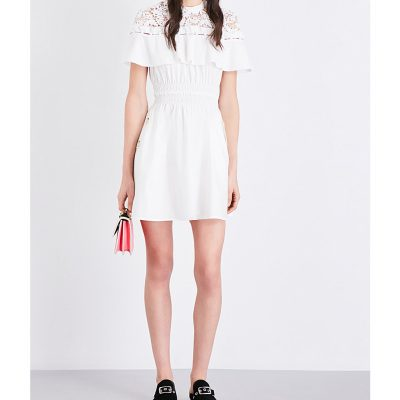 SELF-PORTRAIT Hudson Cotton-poplin Mini Dress