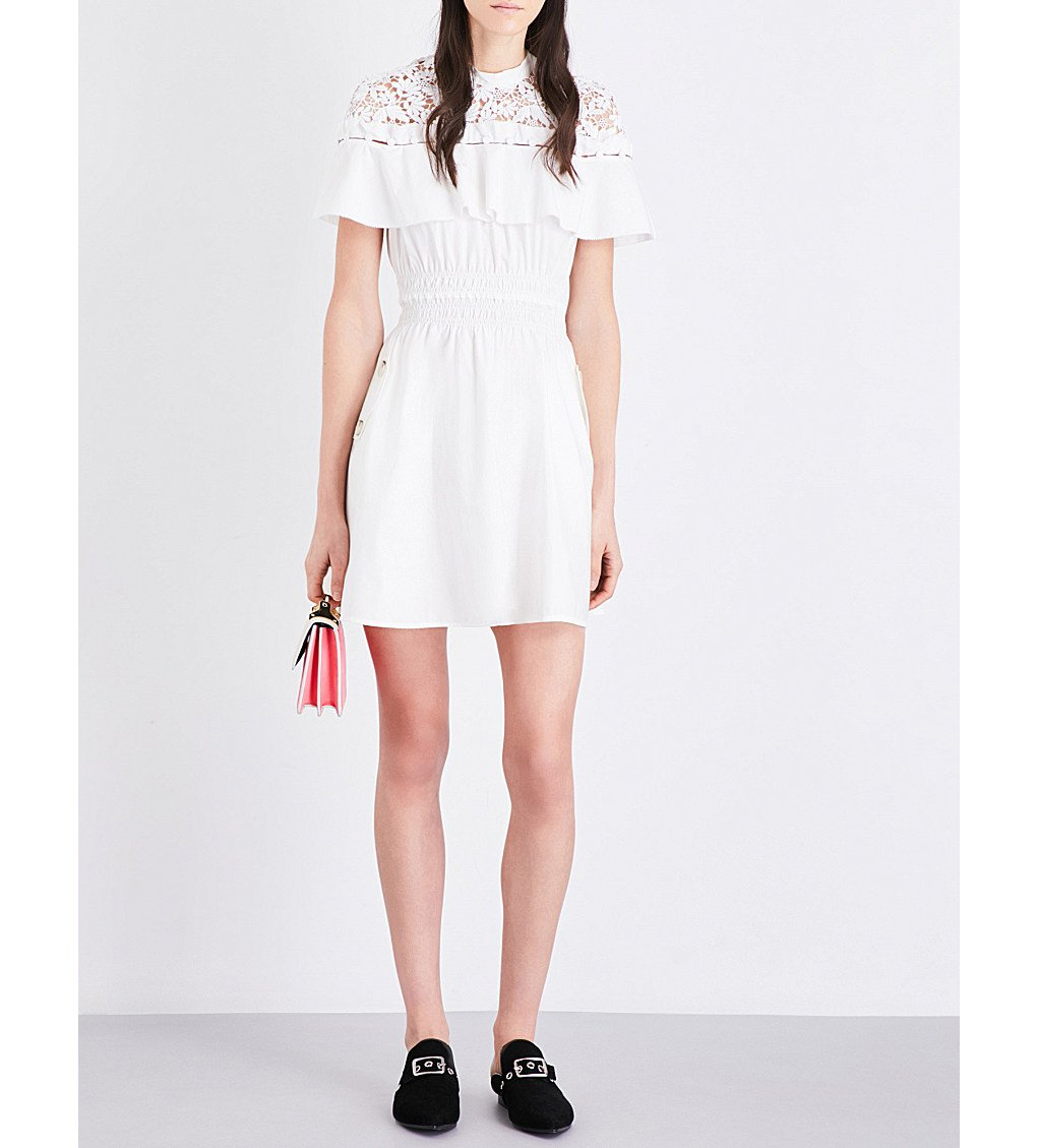 SELF-PORTRAIT Hudson Cotton-poplin Mini Dress