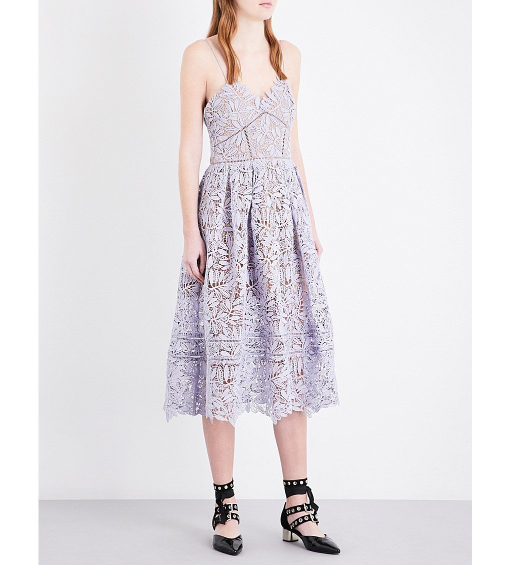 SELF-PORTRAIT Laelia Guipure-lace Midi Dress