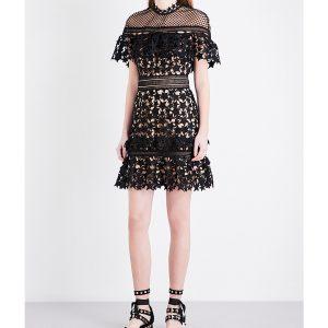 SELF-PORTRAIT Yoke Frill Guipure-lace Mini Dress