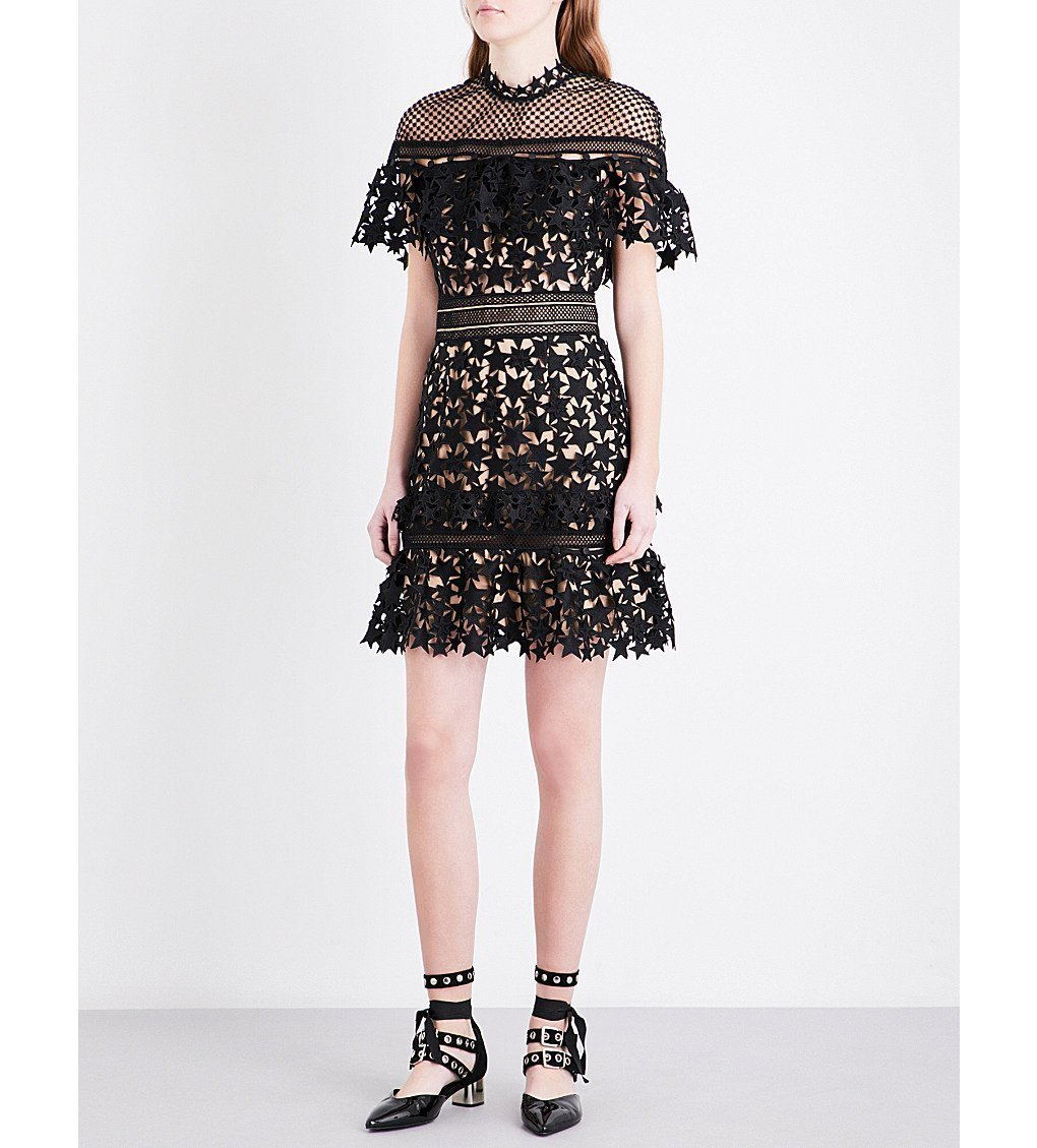 SELF-PORTRAIT Yoke Frill Guipure-lace Mini Dress