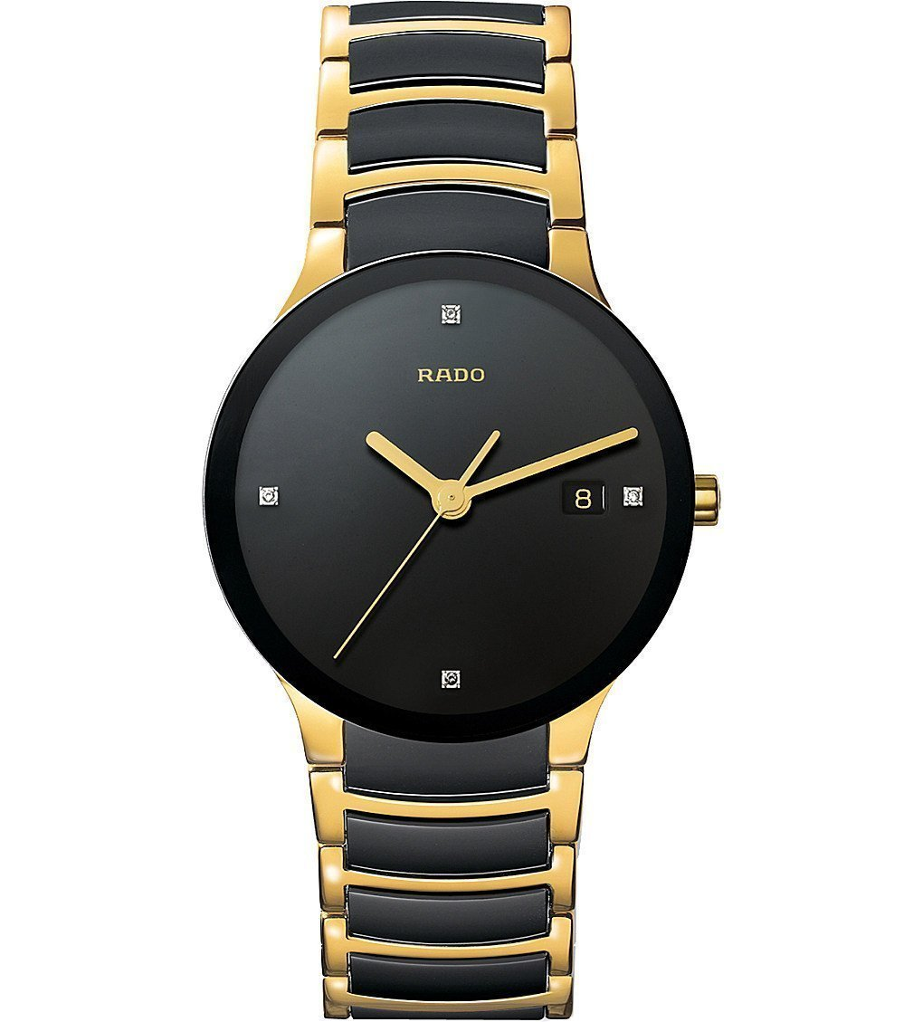 RADO R30929712 Centrix Centrix Gold And Black Ceramic Watch