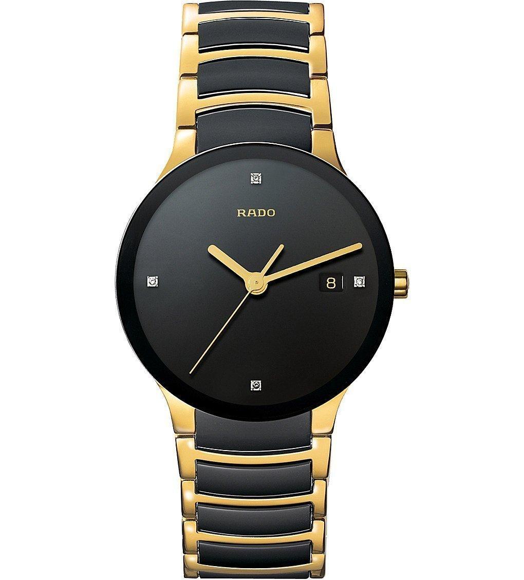 RADO R30929712 Centrix Centrix Gold And Black Ceramic Watch