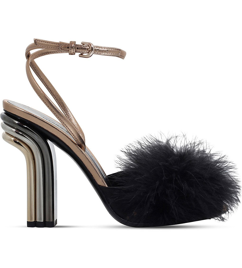 MARCO DE VINCENZO Feather-embellished High-heeled Sandals