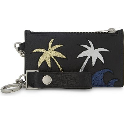 SAINT LAURENT Glitter Palm Tree Leather Keychain Car Holder
