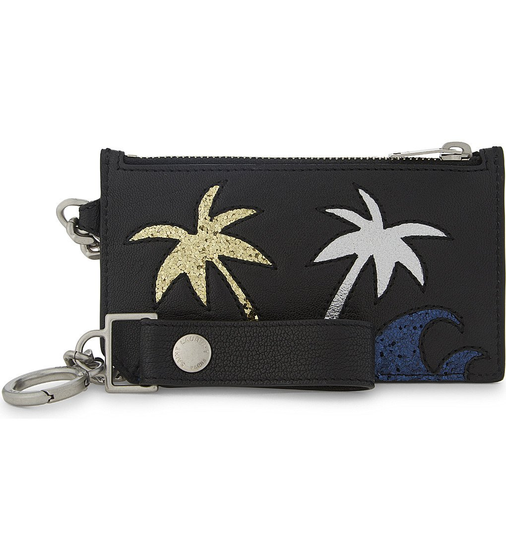 SAINT LAURENT Glitter Palm Tree Leather Keychain Car Holder