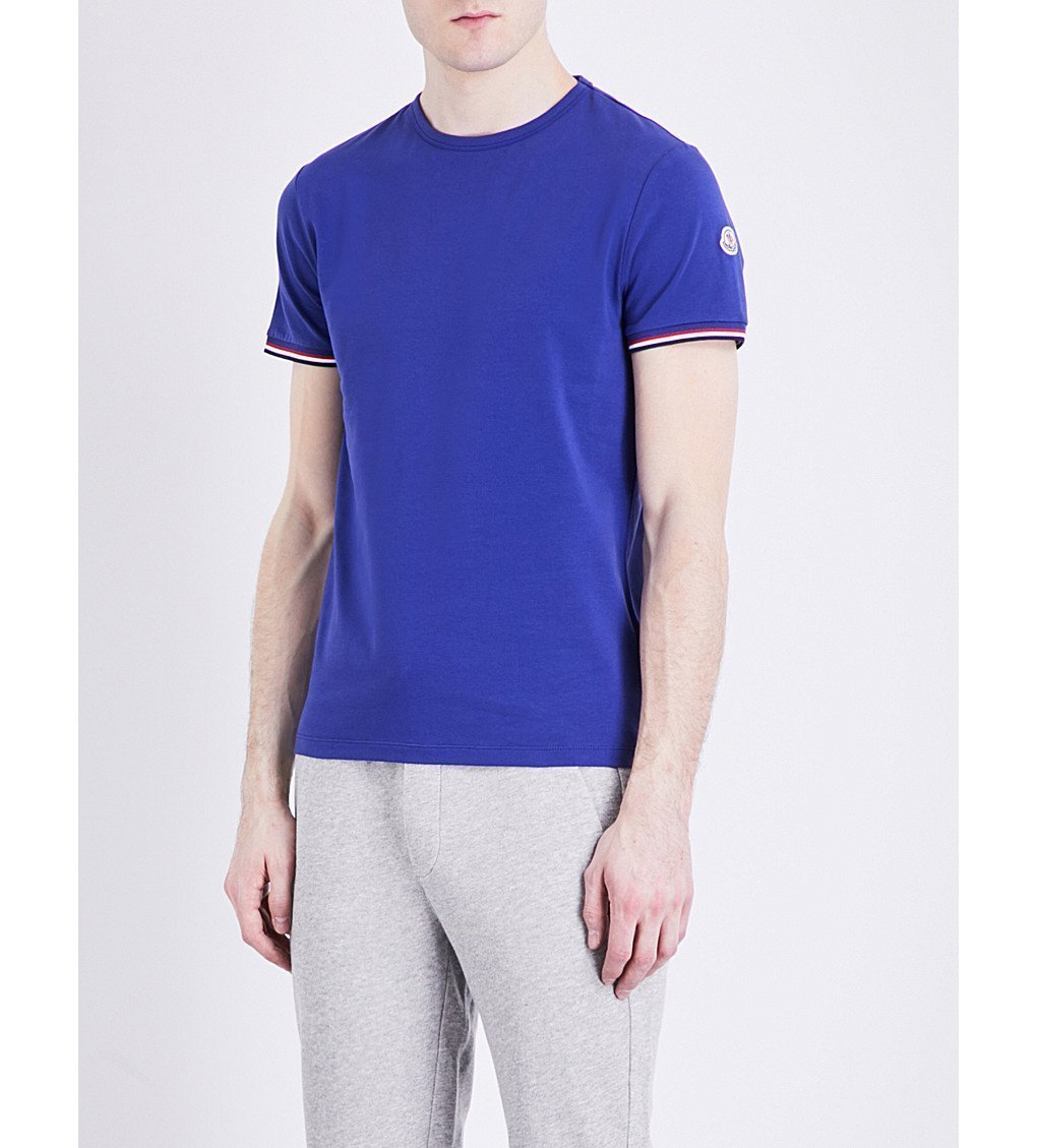 MONCLER Stripe-trim Stretch-cotton T-shirt