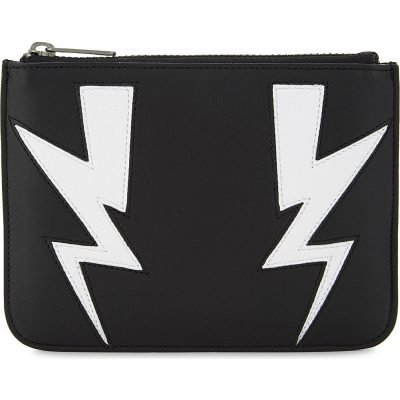 NEIL BARRETT Double Thunderbolt Small Leather Pouch