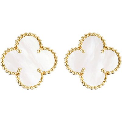 VAN CLEEF & ARPELS Vintage Alhambra Gold And Mother-of-pearl Earrings