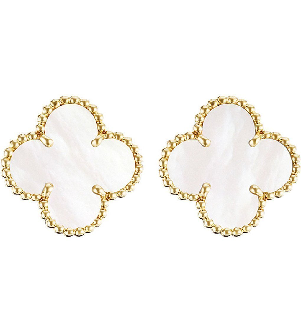 VAN CLEEF & ARPELS Vintage Alhambra Gold And Mother-of-pearl Earrings