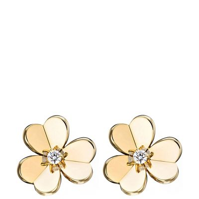 VAN CLEEF & ARPELS Frivole Gold And Diamond Small Earrings