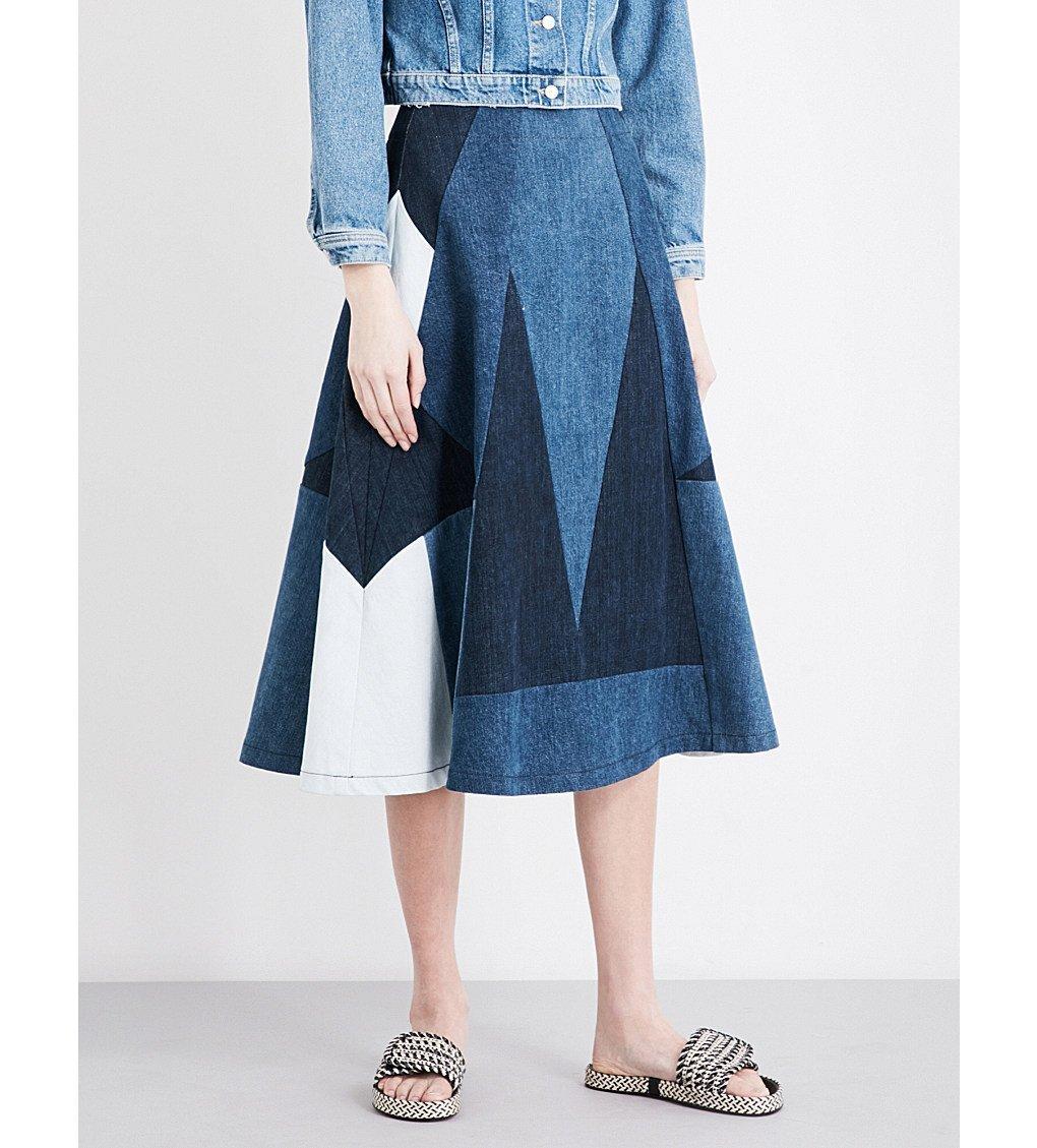 MAJE Jabla Patchwork Denim Midi Skirt