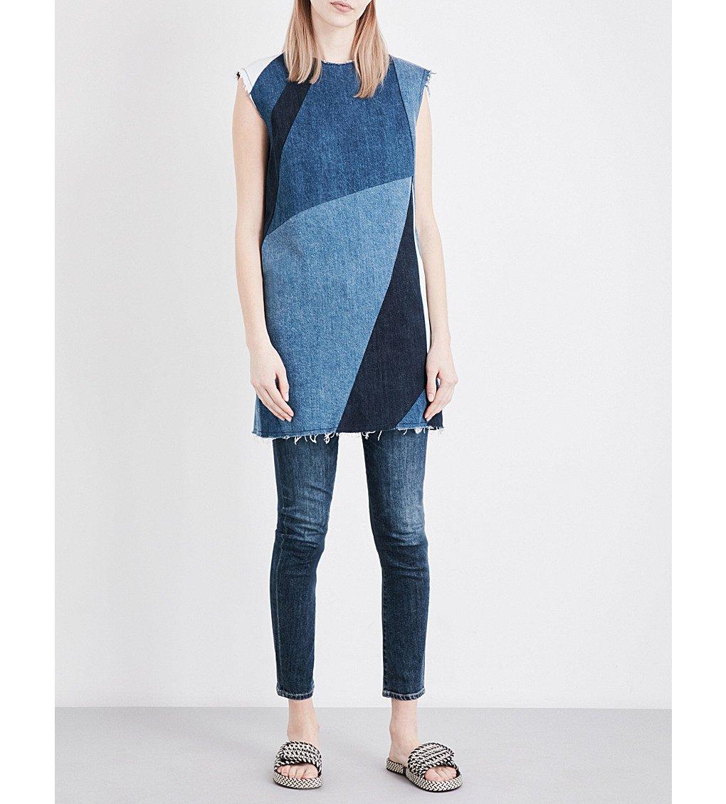 MAJE Ratch Patchwork Denim Mini Dress